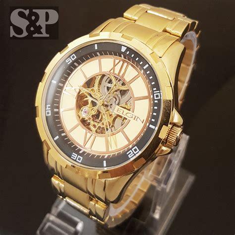 mens elgin luxury auto chronograph skeleton stainless