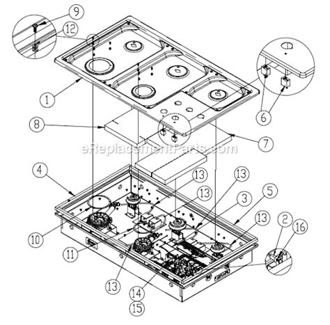 dacor cooktop replacement parts dacor rgc365 parts list and diagram ereplacementparts