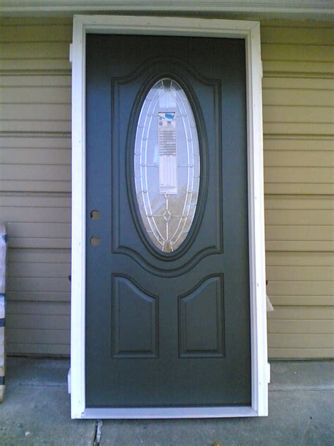 New Exterior Door New Home 36 Quot X80 Quot Fiberglass Exterior Door W Oval Glass Wood Frame Ebay