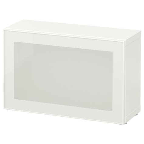 Besta 60x20x38 by Best 197 Shelf Unit With Glass Door White Glassvik White