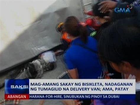 Vans Anak Balita Unyu amang nagbibisikleta patay nang madaganan ng tumagilid na delivery angkas niyang anak