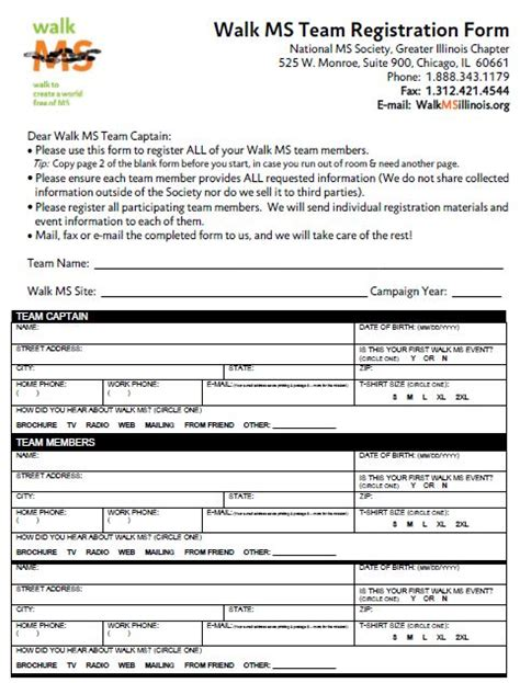 team registration form template team registration image search results