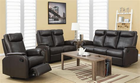 reclining living room sets 81br 3 brown bonded leather reclining living room set from monarch coleman furniture