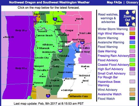 map of s w oregon national weather service cancels flood for parts of