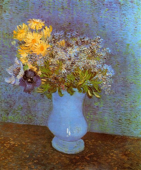 Gogh Flower Vase by Vase With Lilacs Daisies And Anemones 1887 Vincent