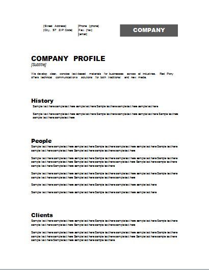 profile template company profile template word free