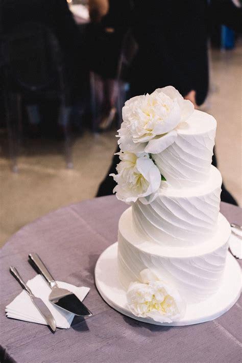wedding cakes modern white  peony topper chez