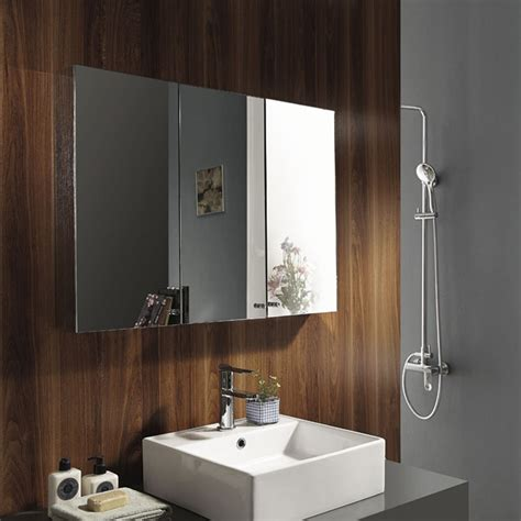 triple mirror bathroom cabinet stainless steel wall mounted bathroom storage cabinet