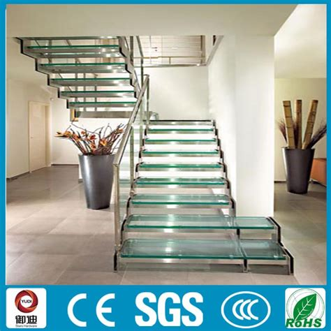 Indoor Stairs open riser double stringers u shape glass tread straight