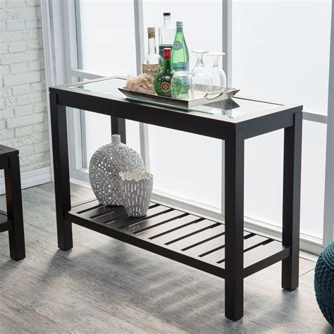 glass top console table sutton glass top console table with slat bottom console