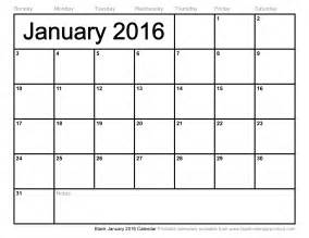 Blank Calendar 2016 Blank January 2016 Calendar