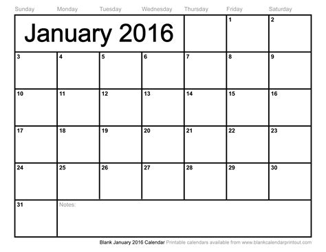 Blank Calendar Pages 2016 Blank January 2016 Calendar To Print