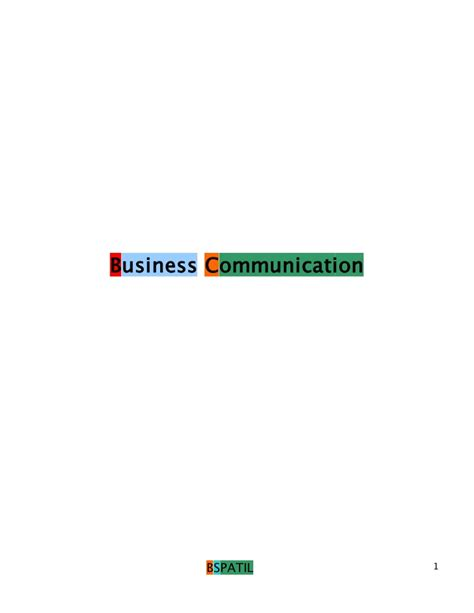 Mba Buisness Communication by Business Communication Book 1 St Mba Bec Doms