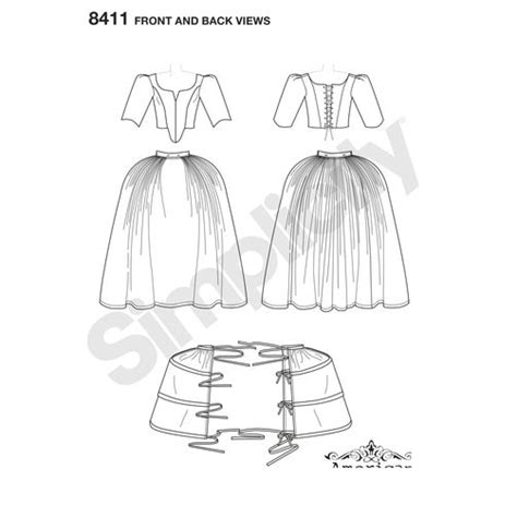 pattern of demand in french simplicity pattern 8411 misses 18th century costume