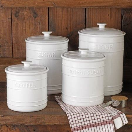 Kitchen Canisters Flour Sugar Amazon Com White Embossed Kitchen Canister Set 4 Piece