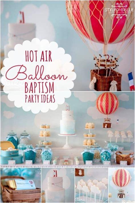 elegant boys hot air balloon christening party spaceships  laser beams
