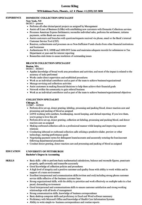 Resume Specialist by Collection Specialist Resume Sles Velvet