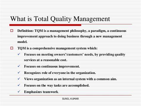 Explain Quality Total Quality Management Tqm