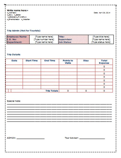 trip sheet template free sheet templates