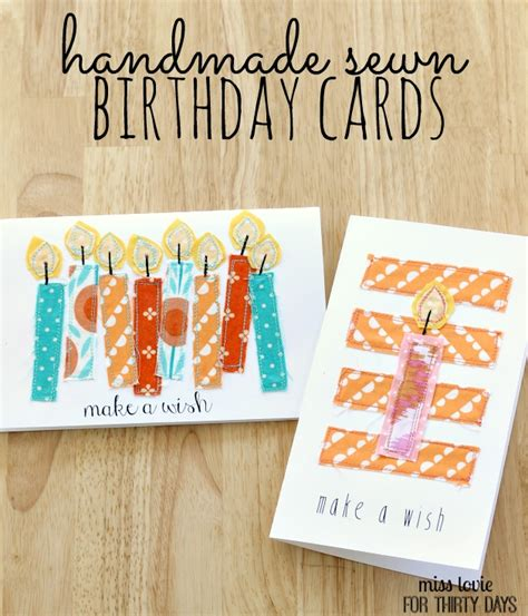 Thirty Handmade Days - handsewn birthday cards