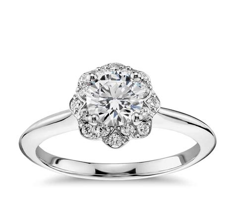 floral halo engagement ring in 14k white gold 1