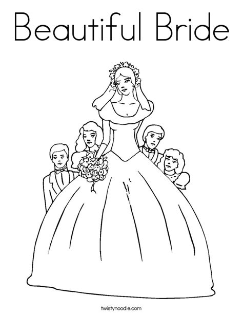 beautiful bride coloring page twisty noodle