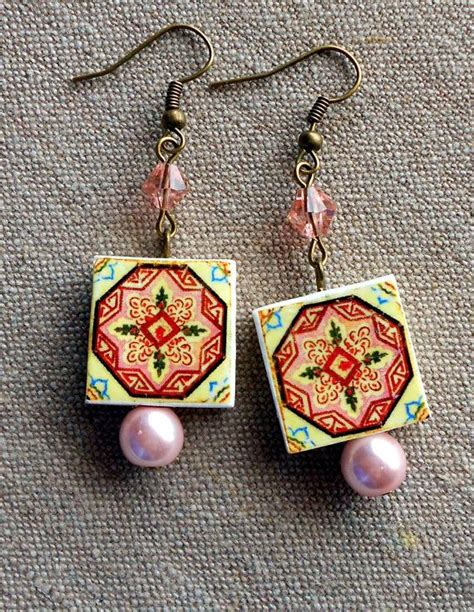 azulejo earrings portugal antique azulejo tile replica earrings from