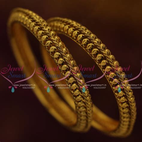 Handmade Gold Bangles - b7756 design antique gold plated handmade fancy