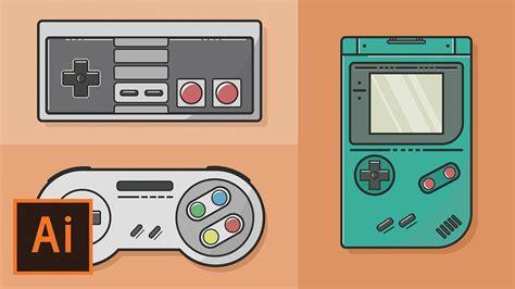 game boy keyboard tutorial illustrator tutorial video game flat design illustrator