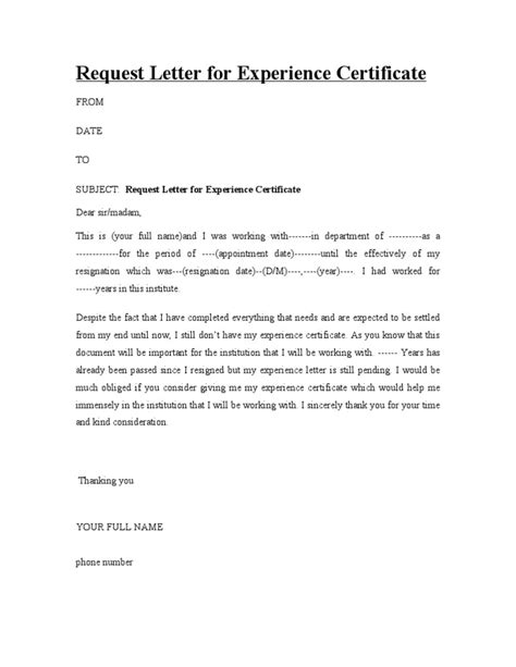certification letter from previous employer request letter for experience certificate