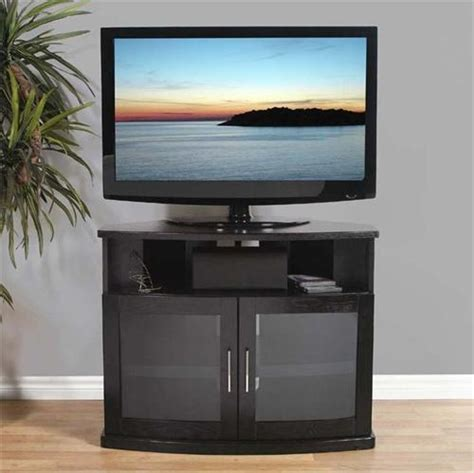tv cabinet with glass doors plateau newport series corner wood tv cabinet with glass