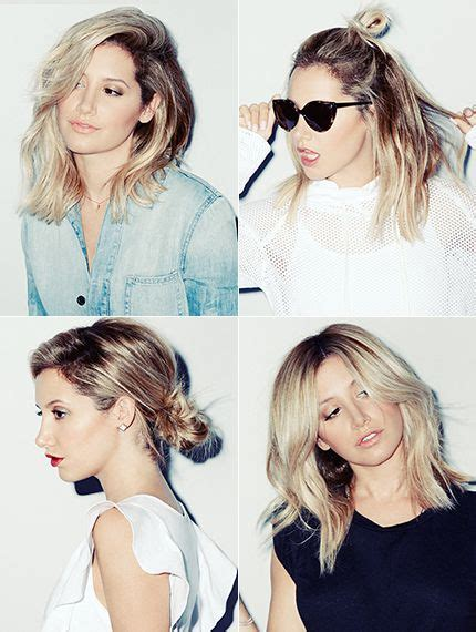 how to sytle a medium length lob to make wavy exclusive ashley tisdale shows off 4 ways to style a