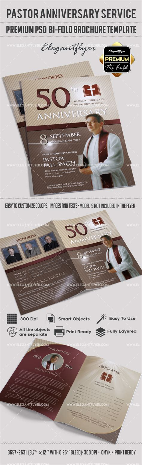 bi fold memorial card template pages pastor anniversary service in psd by elegantflyer