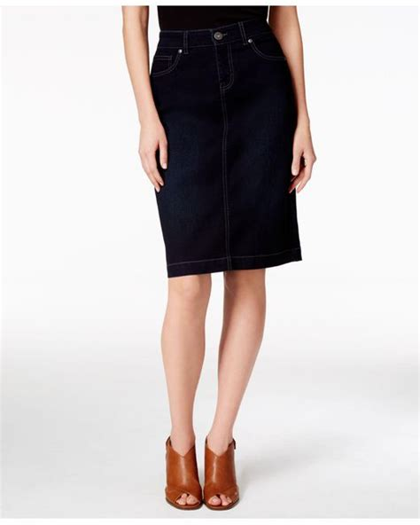 style co denim skirt only at macy s in black lyst