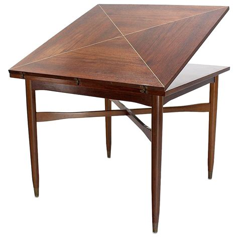 Expandable Game Table | walnut top with brass inlay mid century modern expandable