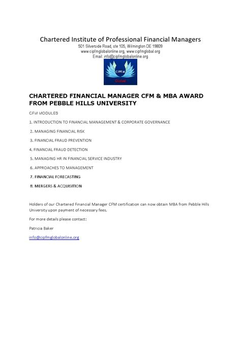 Aim Mba Requirements by Holders Of Chartered Financial Manager Cfm Certification