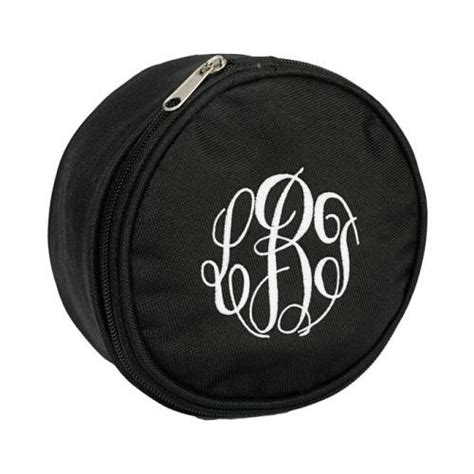 monogrammed  black jewelry case   pink monogram