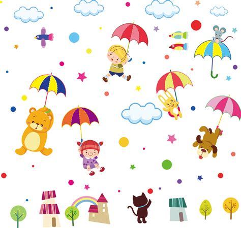 wall stickers animals umbrella animals wall decals wall stickers for