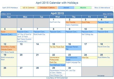 April 2015 Calendar With Holidays Search Results For In April Calendar 2015