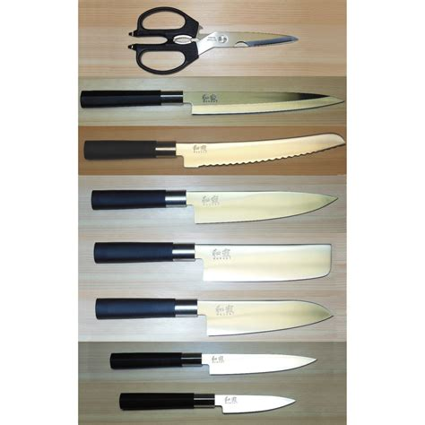 kai wasabi black set of kitchen knives shun kai wasabi 8 piece knife set chef nakiri santoku
