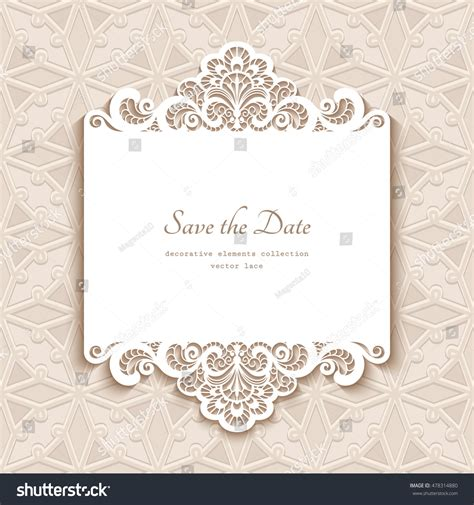 Paper Lace Templates Card by Cutout Paper Lace Frame Greeting Card Stock Vector