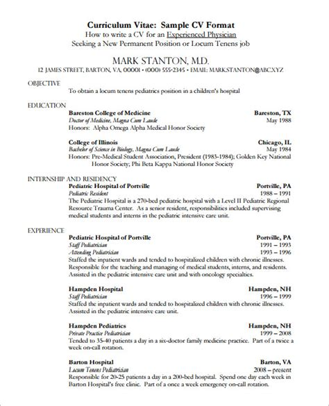 medical cv template cv template 7 documents in pdf