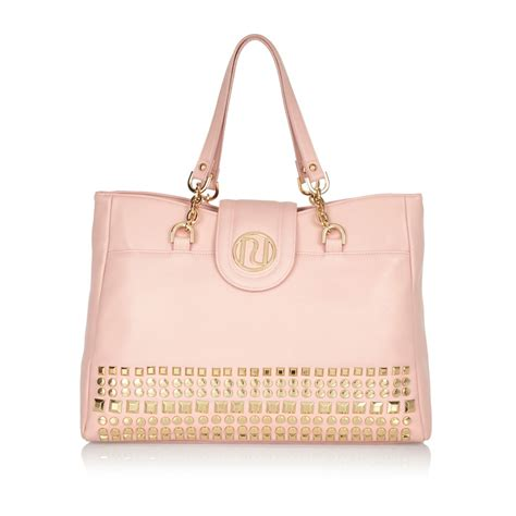river island light pink studded tote bag in pink lyst