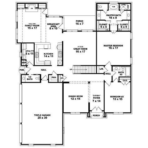 5 bedroom floor plans 1 story 653935 two story 5 bedroom 4 5 bath country