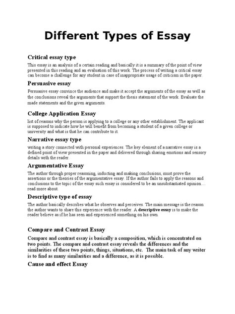 What Are The Types Of Essays by Different Types Of Essay Docshare Tips