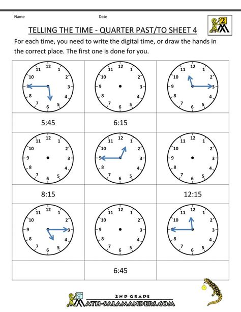 clock worksheets quarter past math worksheets for 2nd graders second grade math