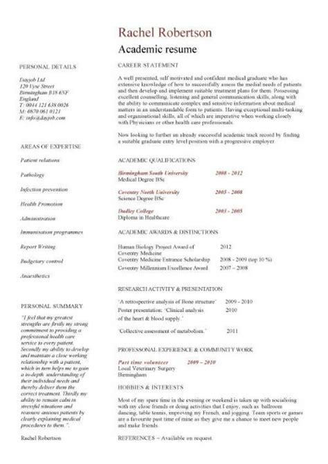Academic Resume Template by Academic Cv Template Curriculum Vitae Academic Cvs