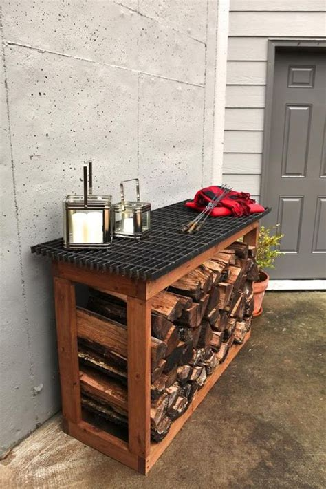 outdoor firewood rack and tables