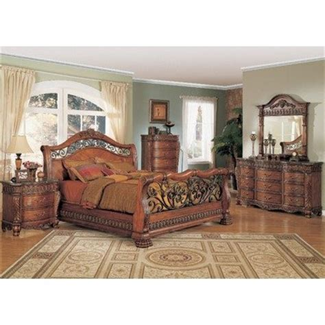 Rod Iron Bedroom Furniture 44 Nicholas Sleigh Bedroom Set In Cherry Size King 44 Best Buy Wrought Iron Sleigh Beds