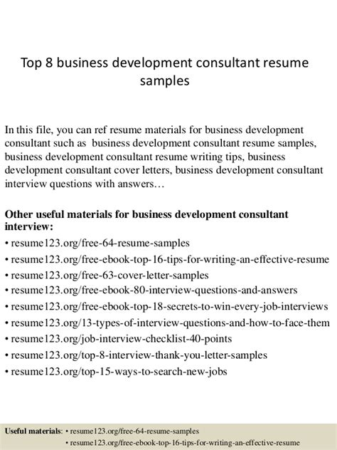 Business Development Consultant Cover Letter by Top 8 Business Development Consultant Resume Sles